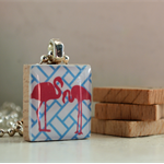 Scrabble Tile Pendant - Flamingo Birds