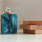 Scrabble Tile Pendant - Feathers