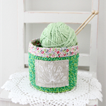 crochet storage basket, green, pink with agapanthus and flowers, free postage