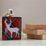 Scrabble Tile Pendant - White Deer