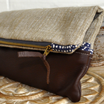 Leather & Organic Cotton Up cycled Clutch