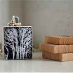 Scrabble Tile Pendant - White trees