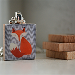 Scrabble Tile Pendant - Fox