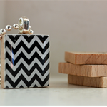 Scrabble Tile Pendant - Black Chevron