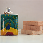 Scrabble Tile Pendant - Peacock