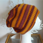 Hand-Knit, Wool, Large Adult/Teen, Slouchy Beanie Hat, Brown, Orange