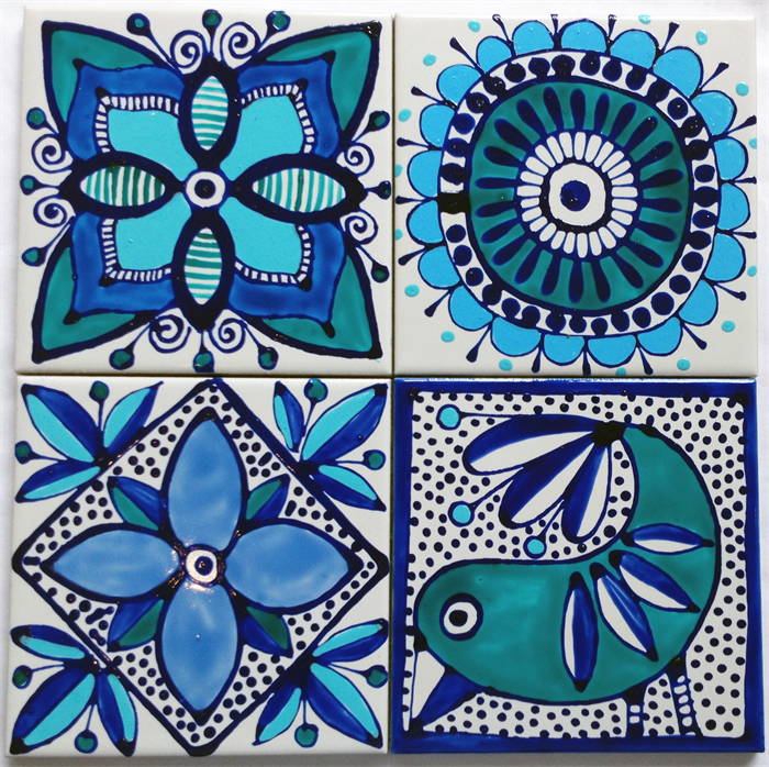 Hand painted ceramic tile coasters mediterranean inspired - Hand painted ceramic tile ...