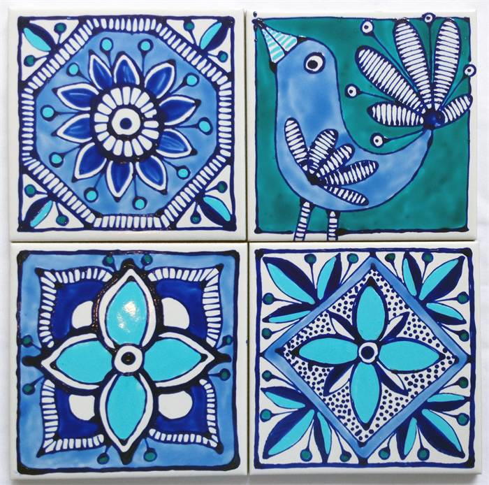 Hand painted ceramic tile coasters mediterranean inspired for Ceramic painting patterns
