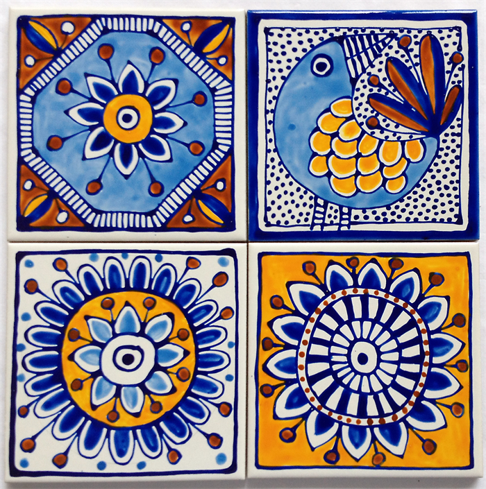 Hand painted ceramic tile coasters mediterranean inspired for Coaster design ideas