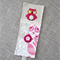 owl, raspberry pink, cross-stitched, linen, screen-printed, bookmark, mum