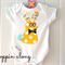 Hopping Along Bright Yellow Fun Bunny Onesie Unisex Baby Gift All sizes