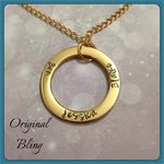 Gold Personalised Hand Stamped Family Circle Pendant Necklace