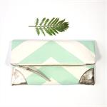 Mint Green Chevron Fold over Clutch purse/ platinum leather details/