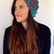 Teal Slouchy Beret with Charcoal Flower Detail