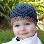 baby boy beanie   crochet   charcoal wool hat   size 4-12 months
