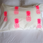 Neon pink pineapple pillowcase
