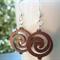 Walnut wooden swirl, Sterling Silver, dangle earring