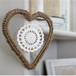 Jute Crochet Heart with Doily - Natural Decoration