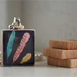 Scrabble Tile Pendant - 3 Feathers