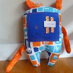 Cuddly Monster Softie - Blue and Orange
