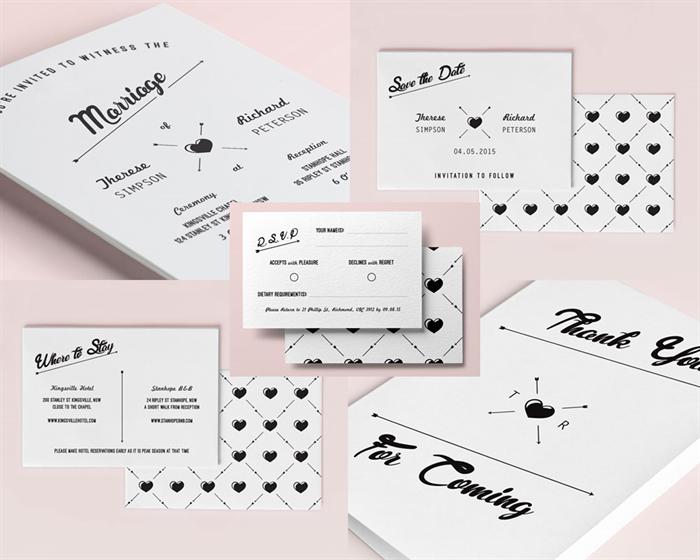 DIY Print Out Edit Wedding Invitations Set Hipster Vintage