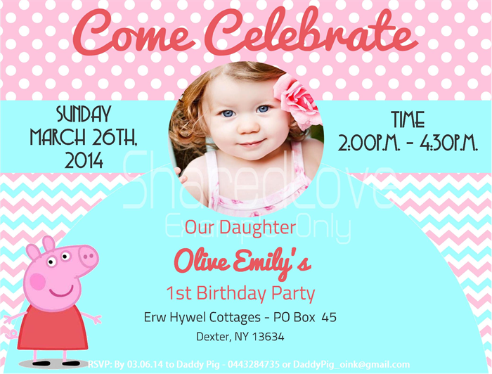 Peppa Pig Birthday Invites with awesome invitations design