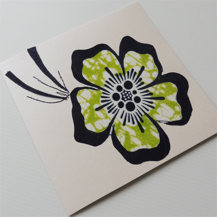 Art card original stitched textiles green flower - Unusual mothers day flowers ...