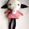 Little Miss,pretty doll, brown felt hair, hand embroidered face, red gingham