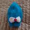 Size 6-12 mths :  Aqua blue beanie with detachable bow: Unisex, washable