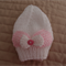 Size 0-6 mth (+) hand knitted white beanie with pink & white bow : prop
