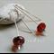 Argentium Sterling Silver range - red Czech glass bead earrings