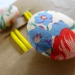 Fabric Button Pony Tail Elastics