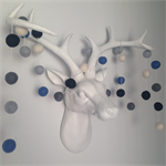 Felt Ball Garland in Blue, Light Blue, Black, Grey & White
