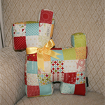 Patchwork Scottie dog in Sweetwater's Wishes fabric range - birthday, wedding...