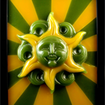 Sunface wax sculpture painting framed LED light lamp