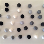 Felt Ball Garland in White, Light Blue, Grey, Off-Black, Black