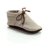 Lambswool lined beige and brown leather shoes for baby, toddlers and children