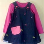 Girls size 4 Reversible fruity denim dress.
