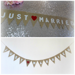 JUST MARRIED Burlap Wedding Banner Hessian Bunting