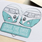 Save the Date Card 'Kombi Love' Retro Wedding Stationery in Turquoise/Teal
