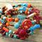 Enchanted Semi Precious, Wood & Antique Bronze Memory Wire Bracelet