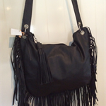 BLACK FRINGE LEATHER HANDBAG