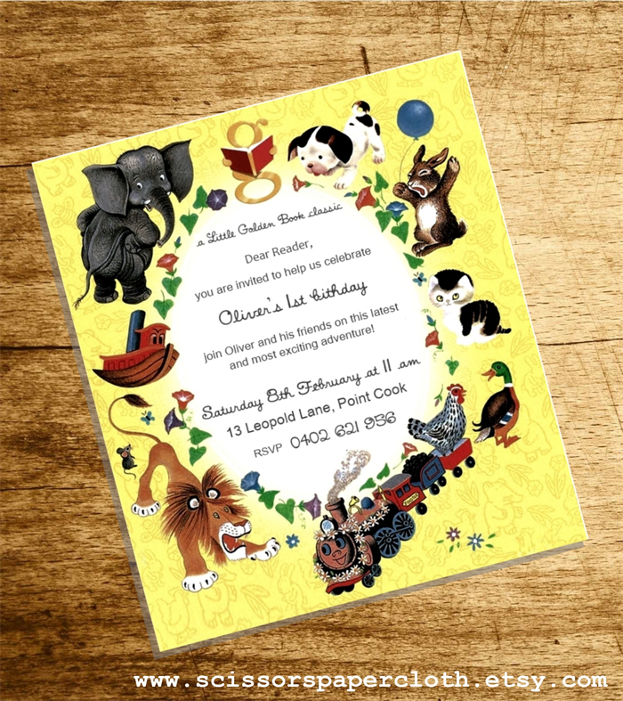 Little Golden Book theme First Birthday Invitation - Personalised digital invite | Scissors Paper Cloth | madeit.com.au