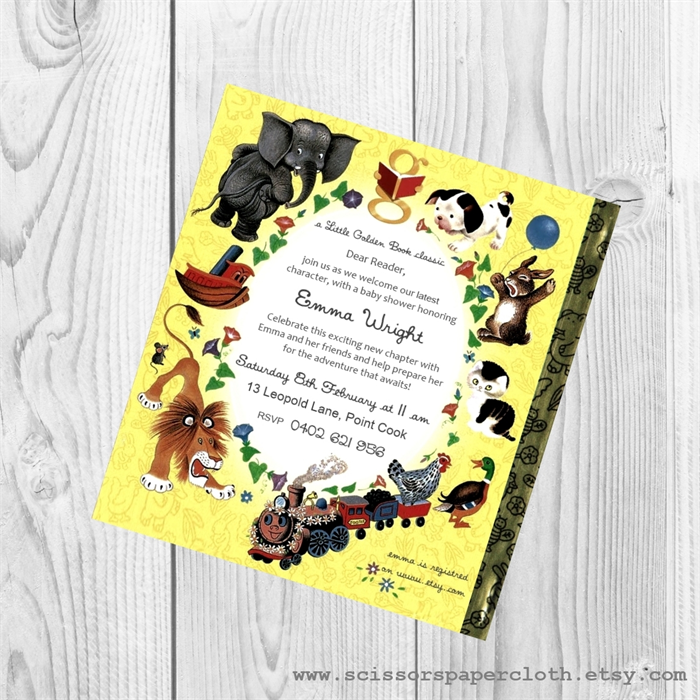 Little Golden Book theme Baby Shower Invitation - Personalised ...