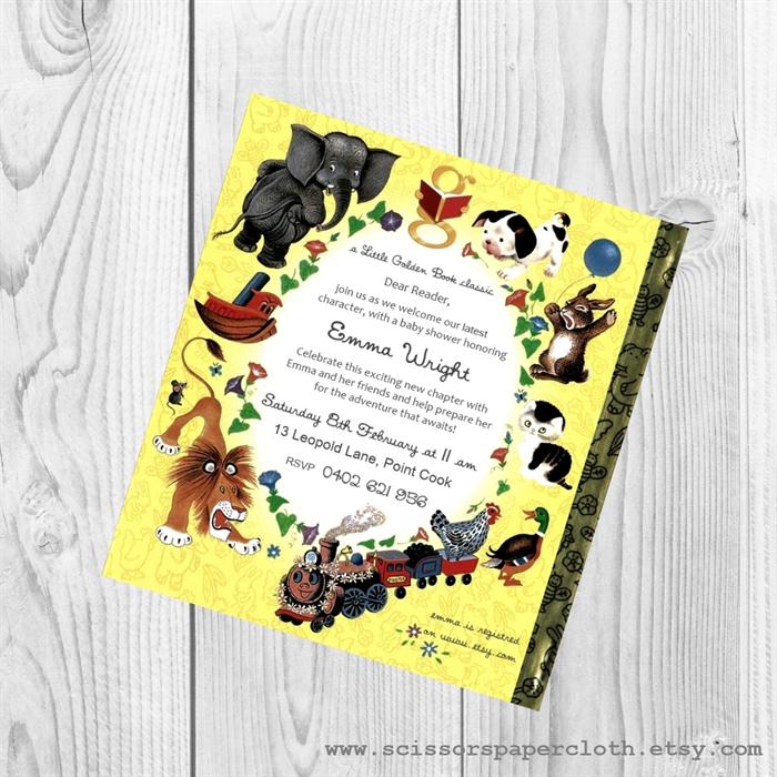 Little Golden Book theme Baby Shower Invitation - 1st birthday ...