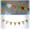 Vintage Rustic Style Party Bunting - Coloured Hearts on Hessian