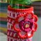 Red & Pink Crocheted Stubbie Cooler/Bottle Cosy/Koozie with flower