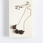 GEO TRIO Wooden Geometric Bead Necklace - Dark Brown Wood and Antique Bronze