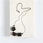 GEO TRIO Wooden Geometric Bead Necklace - Black Wood and Gunmetal Plated Chain