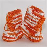 Crocheted Little Combrat Combat Booties. Size 0-3 months